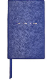 Panama Live Love Laugh textured-leather notebook