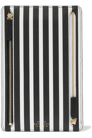 Panama striped textured-leather wallet