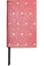 Panama metallic printed textured-leather notebook