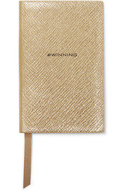 Wafer #Winning metallic textured-leather notebook