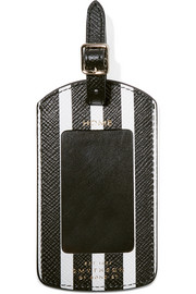 Panama striped textured-leather luggage tag