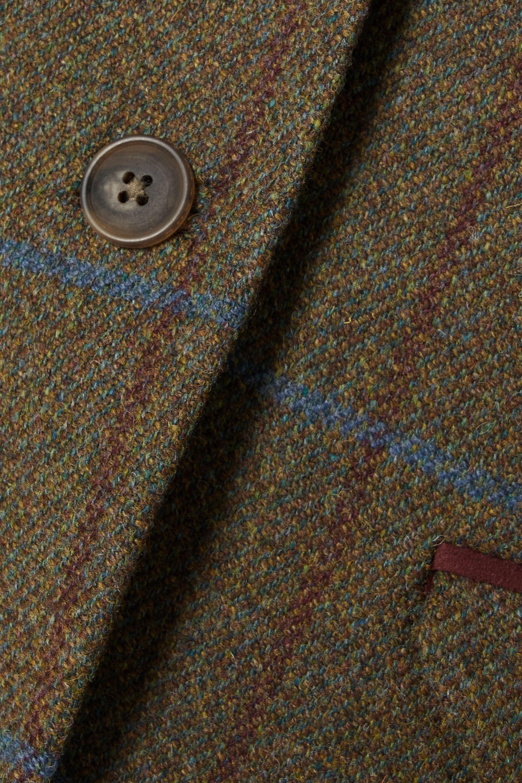 Purdey Alcantara-trimmed checked wool-tweed blazer