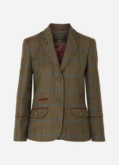 JAMES PURDEY & SONS Alcantara-Trimmed Checked Wool-Tweed Blazer in Green