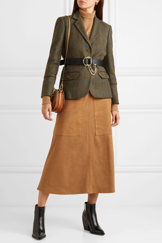 Purdey Karierter Blazer aus Woll-Tweed mit Besatz aus Alcantara®