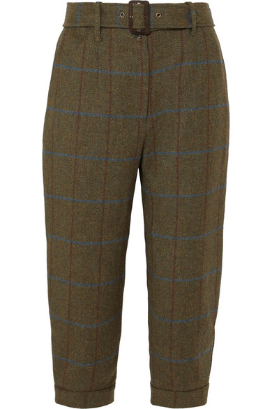 JAMES PURDEY & SONS Cropped Checked Wool-Tweed Tapered Pants in Army Green