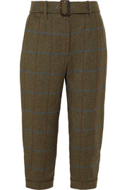James Purdey & Sons Cropped checked wool-tweed tapered pants