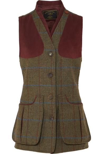 JAMES PURDEY & SONS Alcantara-Trimmed Checked Wool-Tweed Vest in Green