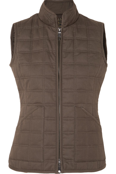 JAMES PURDEY & SONS Quilted Cotton Vest in Army Green
