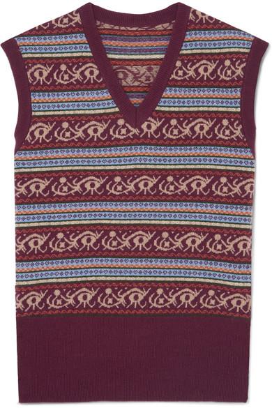 JAMES PURDEY & SONS Fair Isle Wool Sweater in Burgundy