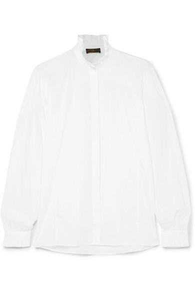 JAMES PURDEY & SONS Ruffle-Trimmed Cotton-Poplin Shirt in White
