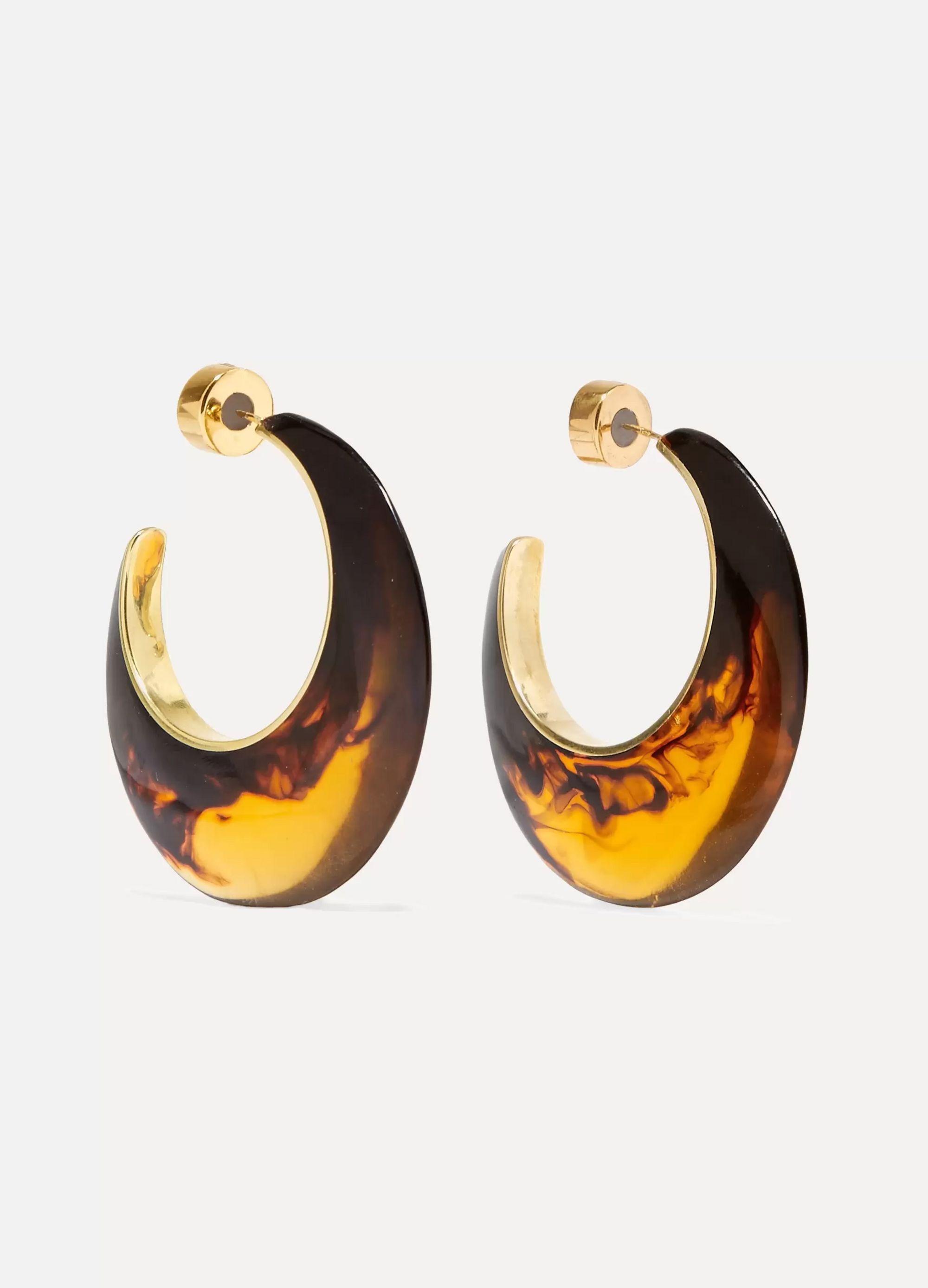 Dinosaur Designs Tortoiseshell resin and gold-tone hoop earrings