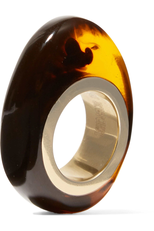 Dinosaur Designs Tortoiseshell resin and gold-tone ring
