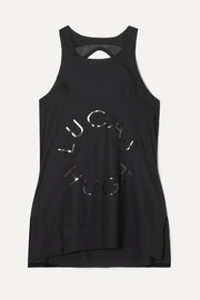 Lucas Hugh Open-back mesh-paneled printed stretch tank