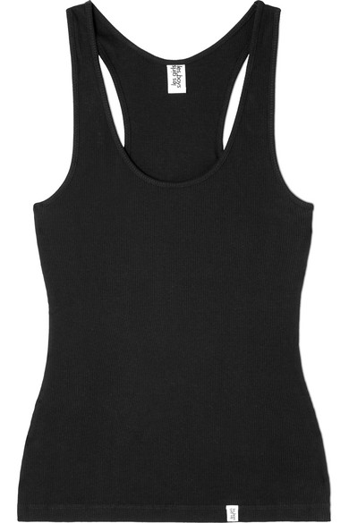 LES GIRLS, LES BOYS Ribbed Stretch-Cotton Jersey Tank in Black