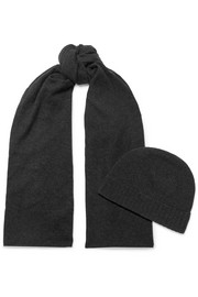 Cashmere scarf and beanie set