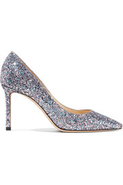Jimmy Choo Romy 85 Pumps aus Leder mit Glitter-Finish