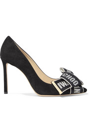 Jimmy Choo Tegan 100 logo-embroidered canvas and suede pumps