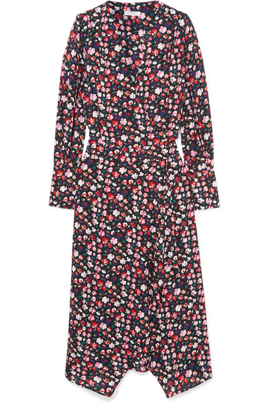 Neema Wrap-Effect Floral-Print Crepe De Chine Dress in Red
