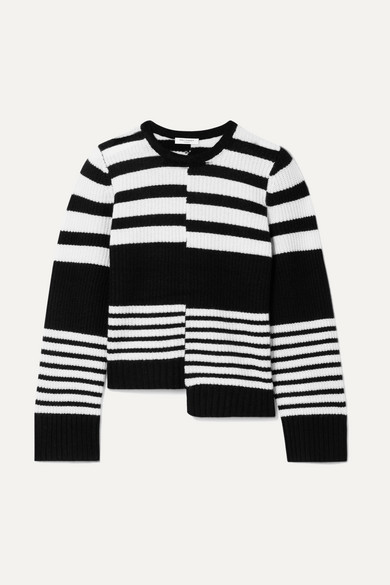 Elm Asymmetric Striped Ribbed Cashmere Sweater in Black
