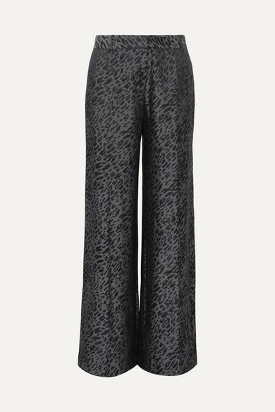 Arwen Silk-Blend Jacquard Wide-Leg Pants in Black