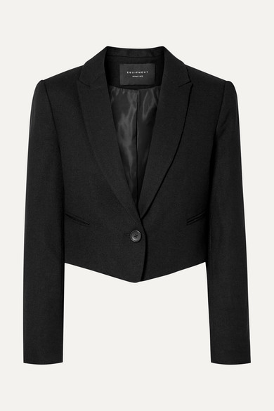 Wright Cropped Wool Blazer, Black