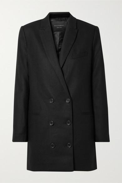 Norden Oversized Double-Breasted Wool Mini Dress in 颜色: True Black