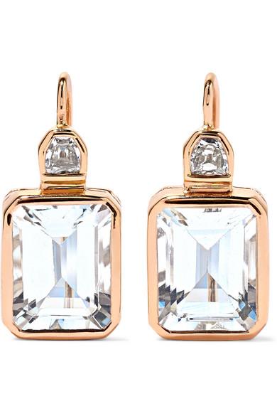 DEZSO BY SARA BELTRAN Deco 18-Karat Rose Gold, Aquamarine And Diamond Earrings