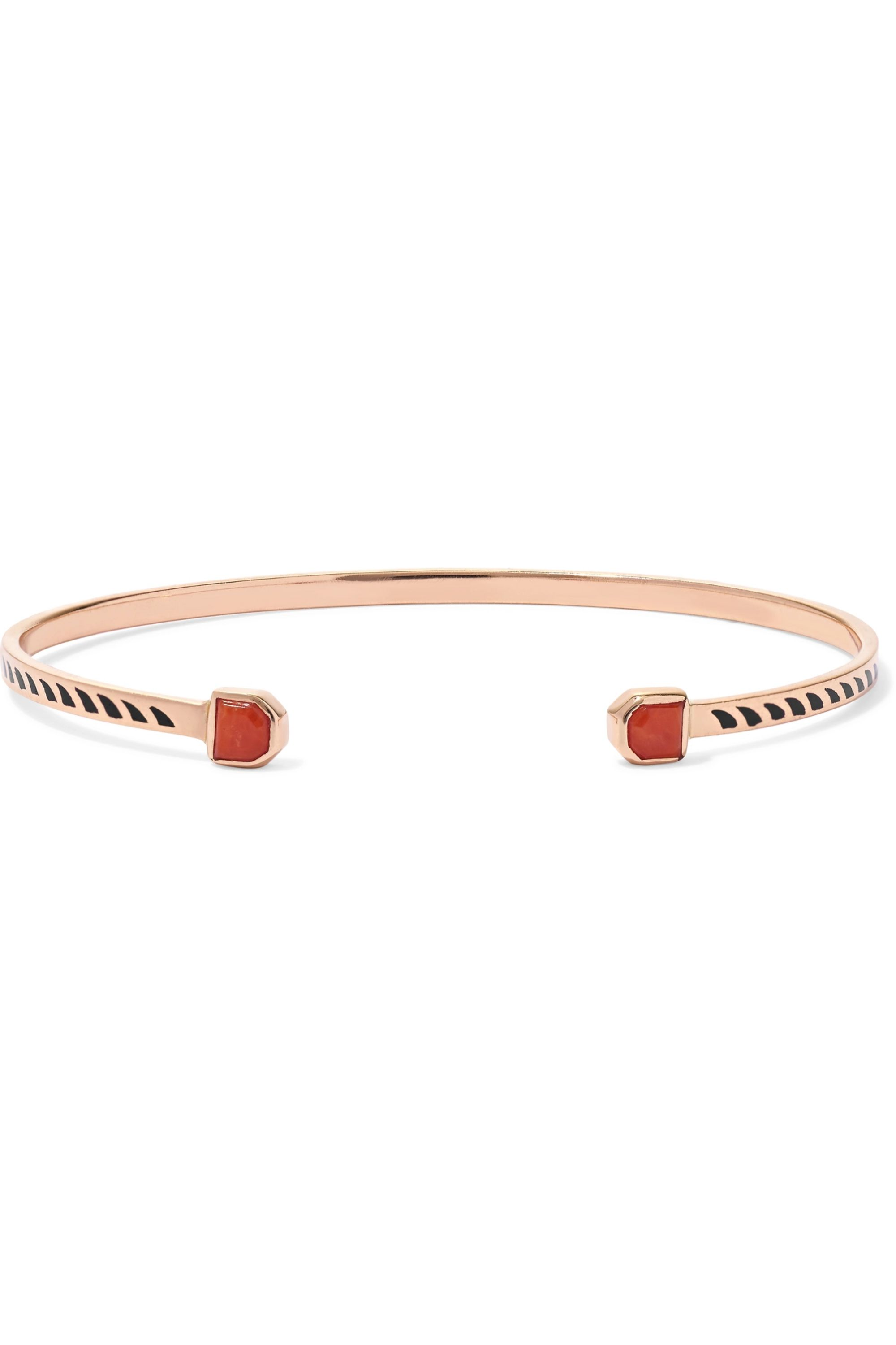 Dezso by Sara Beltrán Deco 18-karat rose gold, coral and enamel cuff