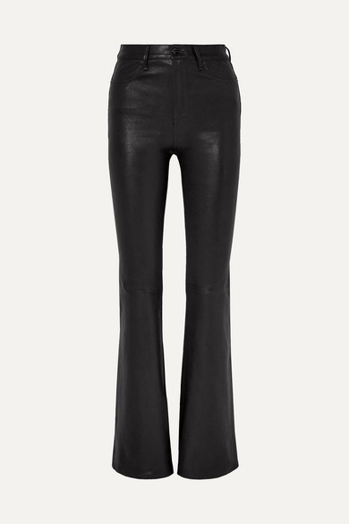 Bella High-Rise Boot-Cut Leather Pants in Black