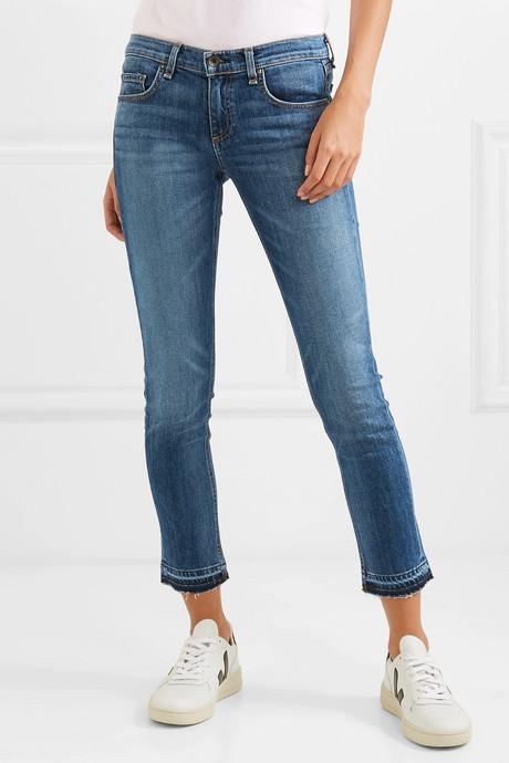 Dre Capri distressed mid-rise skinny jeans