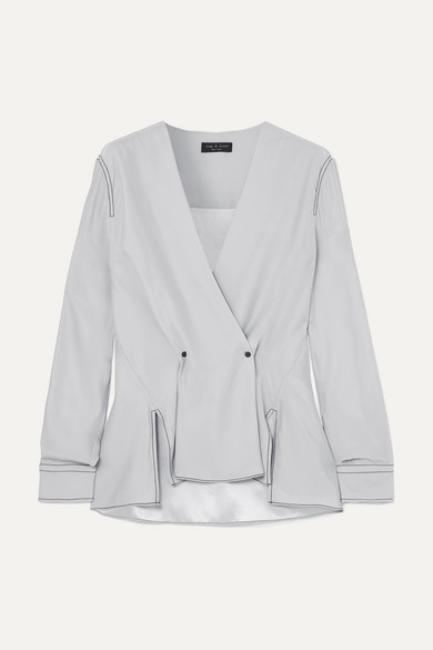 Hannah Silk-Crepe Wrap-Effect Blouse in Silver