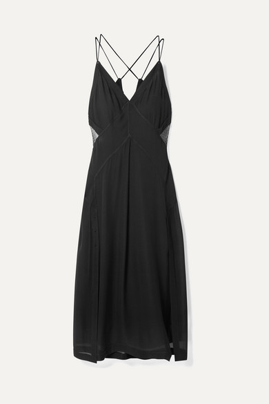 Anais Tulle-Paneled Silk-Georgette Midi Dress in Black
