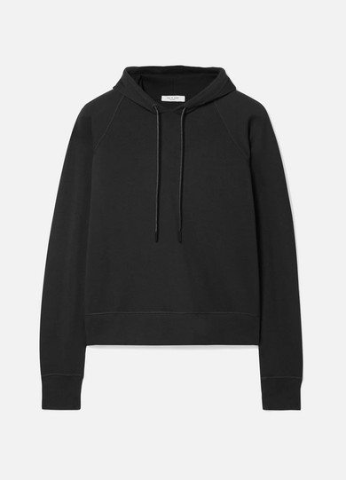 Cropped Stretch Modal-Blend Jersey Hoodie in Black