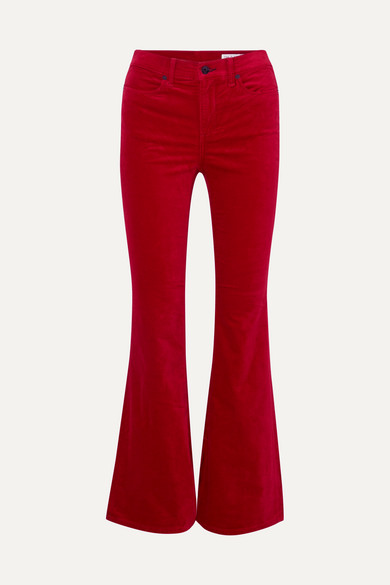 Bella Velvet Flare-Cuff Pants in Red
