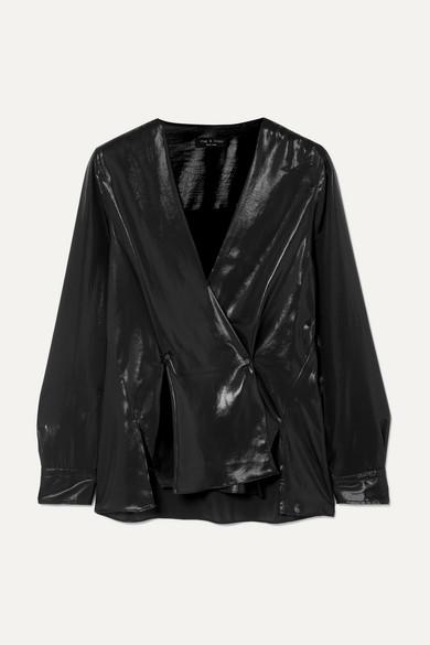 Debbie Coated Long-Sleeve Draped Top in Black