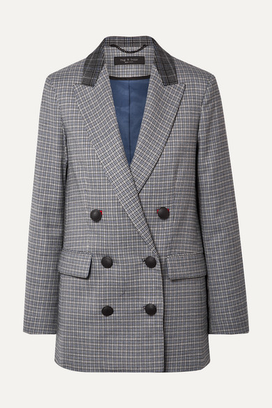 Ellie Double-Breasted Checked Wool-Blend Twill Blazer in Gray
