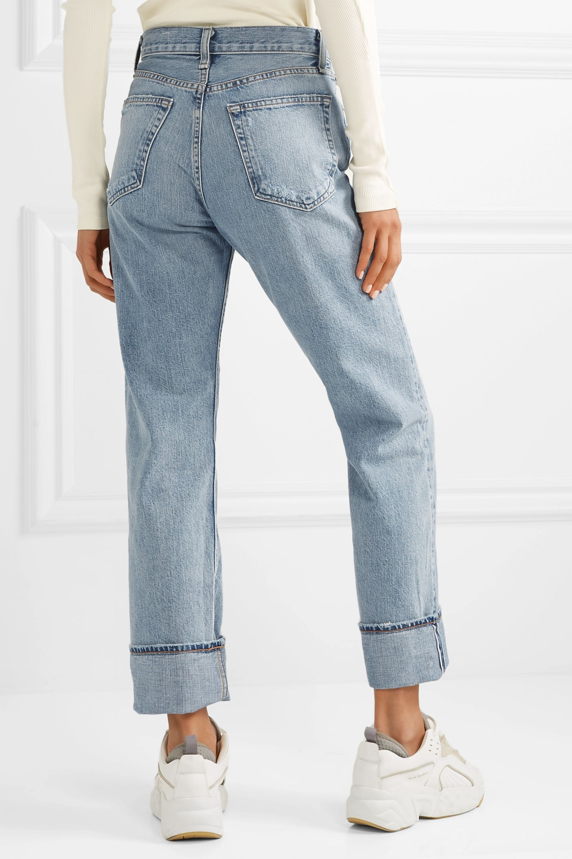 rag & bone Distressed high-rise straight-leg jeans