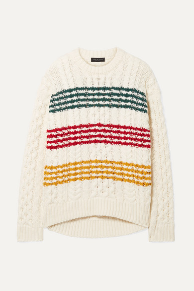 Mindy Striped Cable-Knit Wool Sweater in White