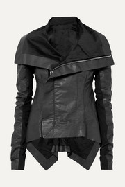 Asymmetric wool-paneled coated linen and cotton-blend biker jacket