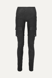 Cotton blend-paneled leather skinny pants
