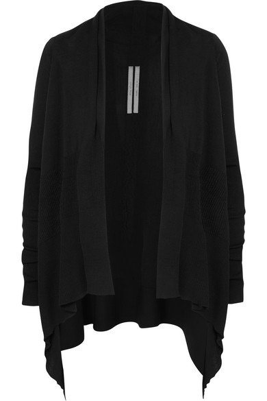 RICK OWENS | Rick Owens - Draped Paneled Ribbed Wool Cardigan - Black | Goxip