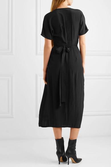 Rick Owens Dress Draped silk crepe de chine wrap dress