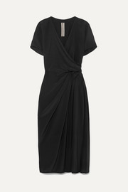 Draped silk crepe de chine wrap dress