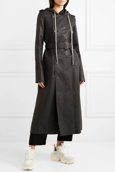 Rick Owens Coats Hooded coated linen-blend trench coat