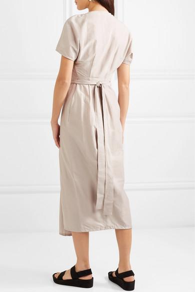 Rick Owens Dress Cotton and silk-blend voile wrap dress