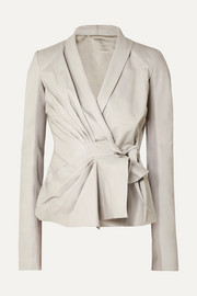 Pleated leather wrap jacket