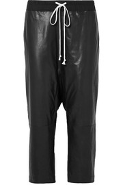 Cropped cotton-jersey trimmed leather pants