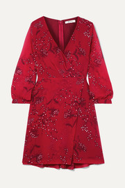 Madewell Wrap-effect floral-print crepe de chine mini dress