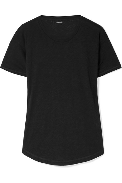 MADEWELL Whisper Slub Cotton-Jersey T-Shirt in Black