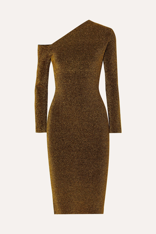 Solace London Liva cold-shoulder stretch-Lurex dress